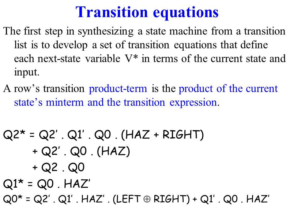 Transition equations