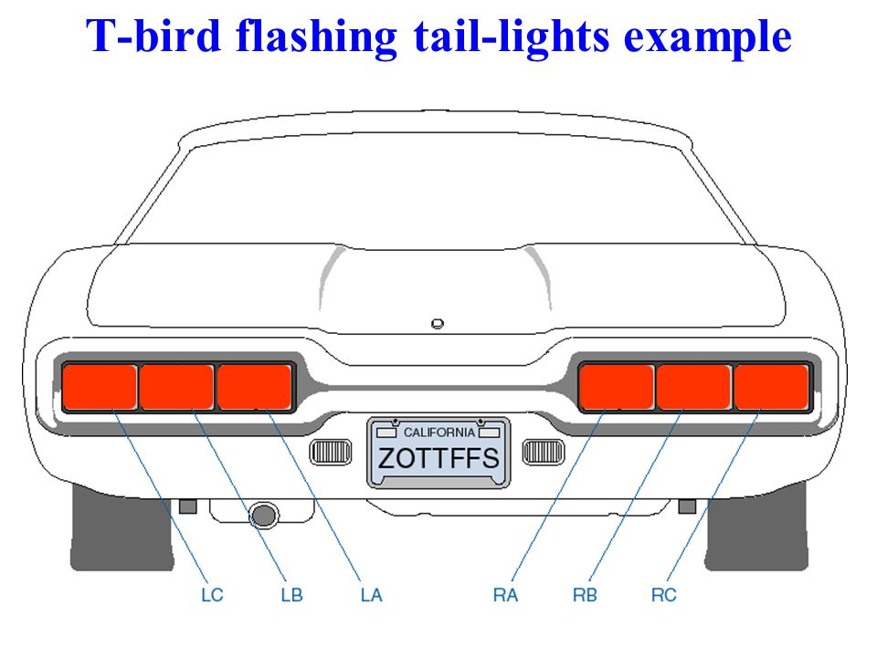 T-bird flashing tail-lights example