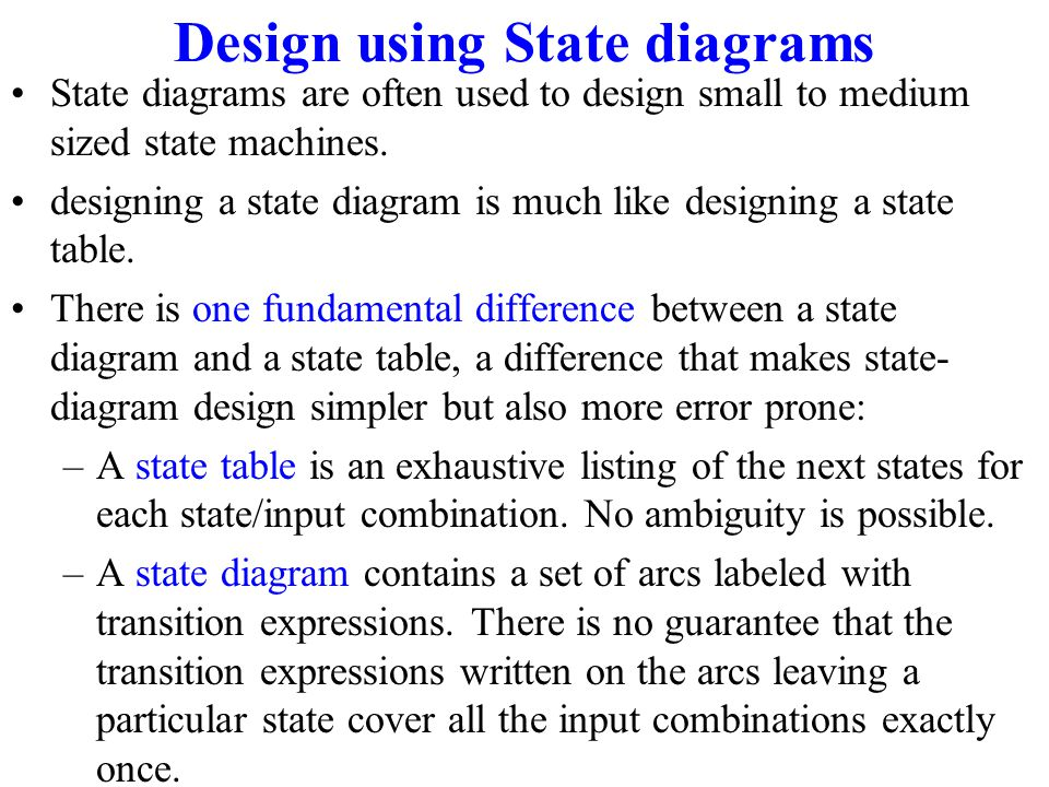 Design using State diagrams