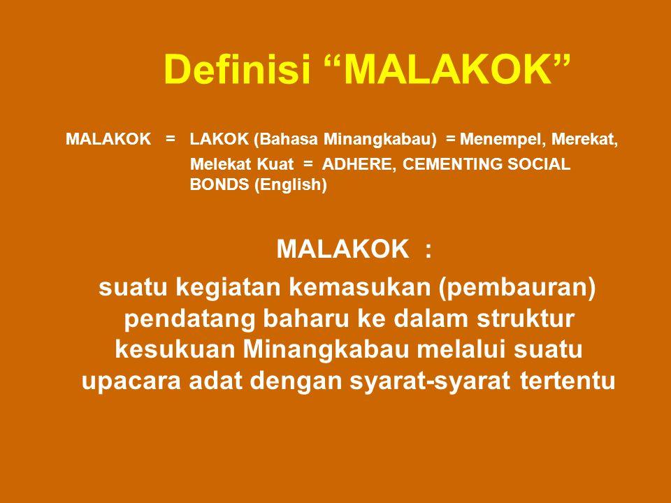Definisi MALAKOK MALAKOK = LAKOK (Bahasa Minangkabau) = Menempel, Merekat, Melekat Kuat = ADHERE, CEMENTING SOCIAL BONDS (English)