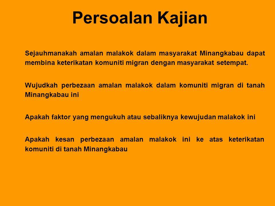 Persoalan Kajian Sejauhmanakah amalan malakok dalam masyarakat Minangkabau dapat membina keterikatan komuniti migran dengan masyarakat setempat.