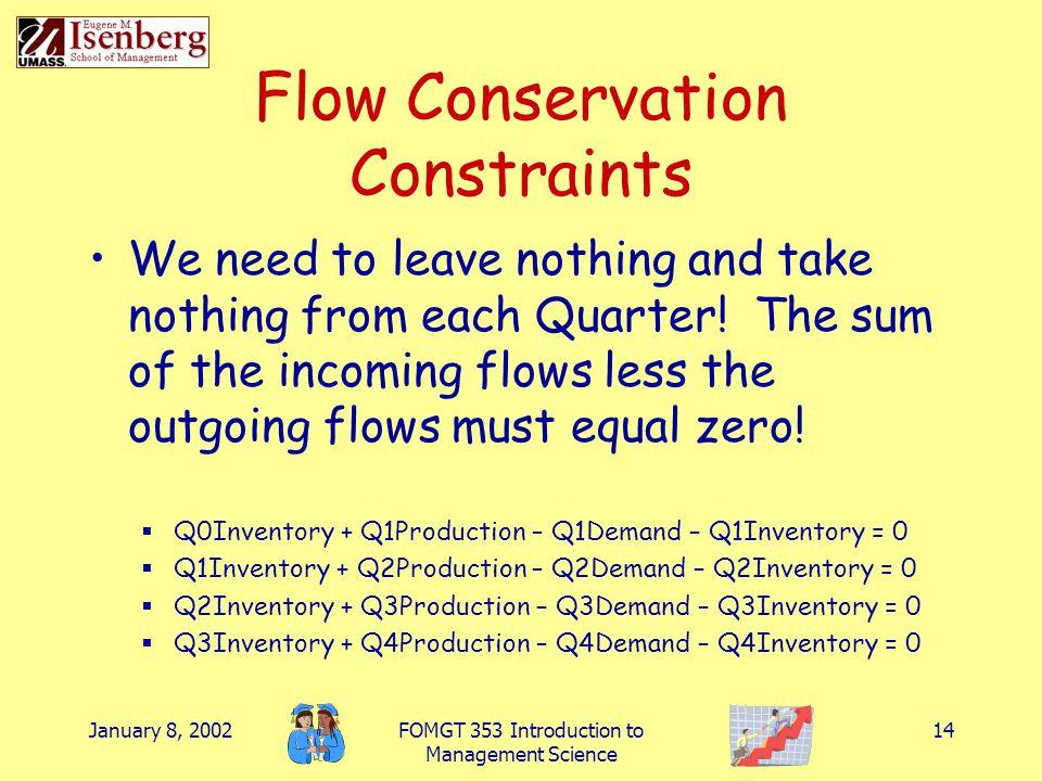 Flow Conservation Constraints