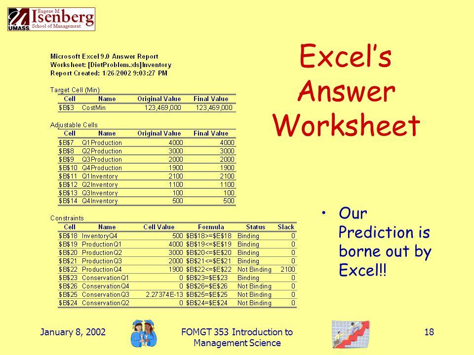 Excel's Answer Worksheet