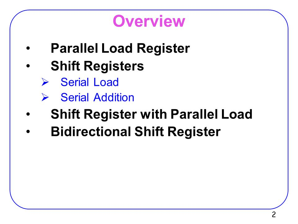Overview Parallel Load Register Shift Registers