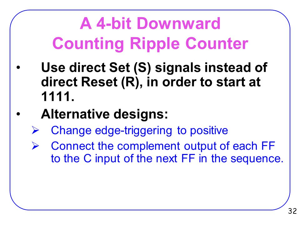 A 4-bit Downward Counting Ripple Counter