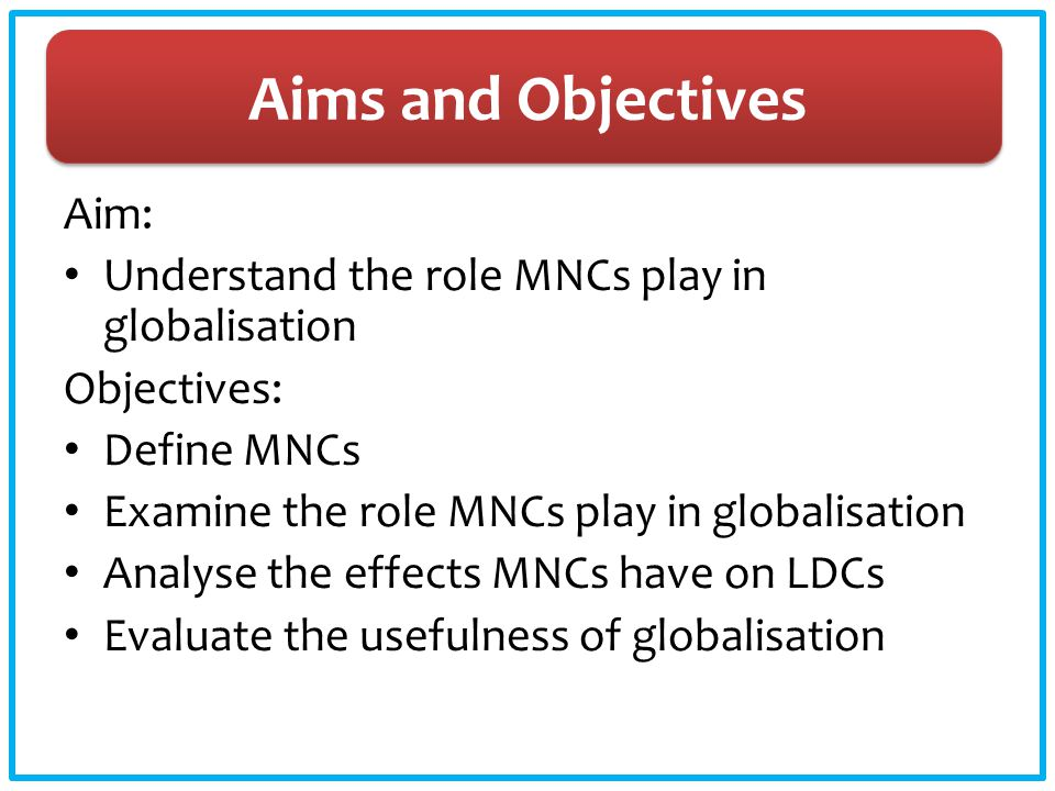 Aims and Objectives Aim: