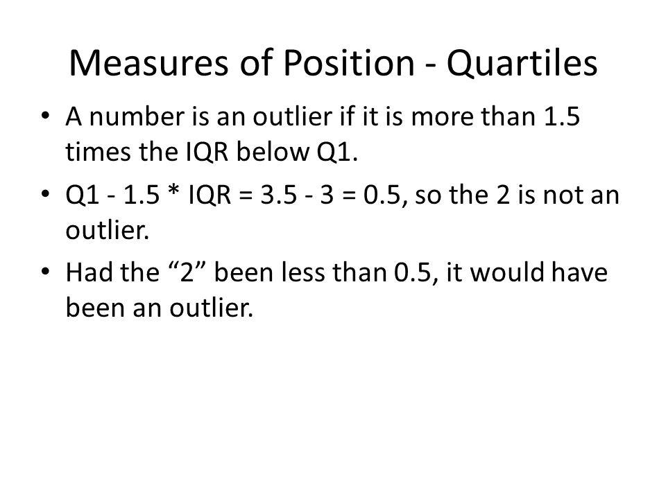 Measures of Position - Quartiles