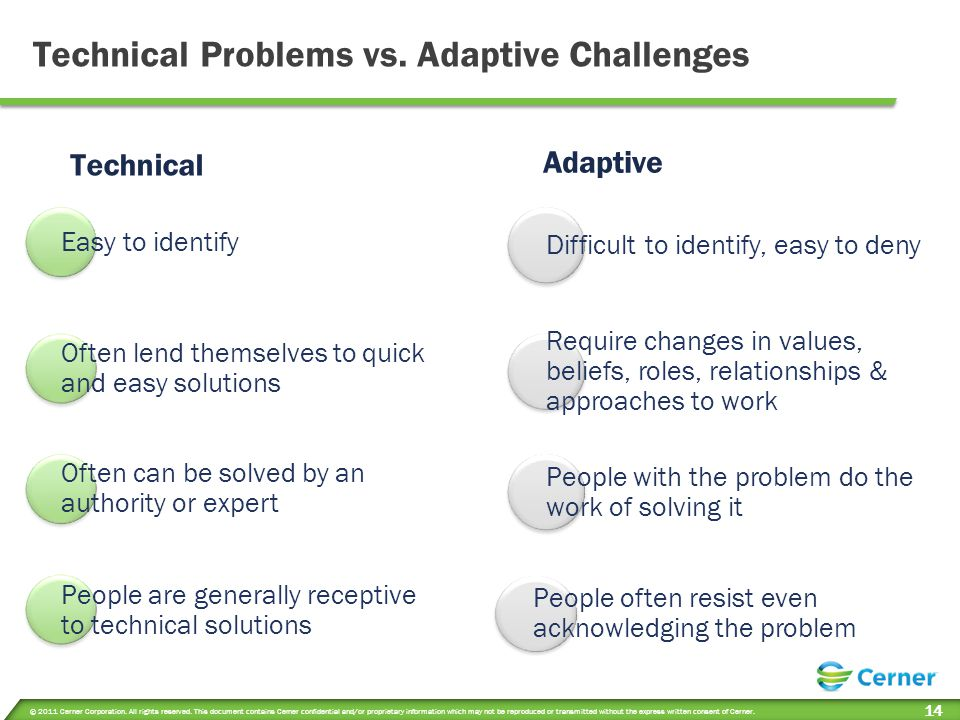 Technical Problems vs. Adaptive Challenges