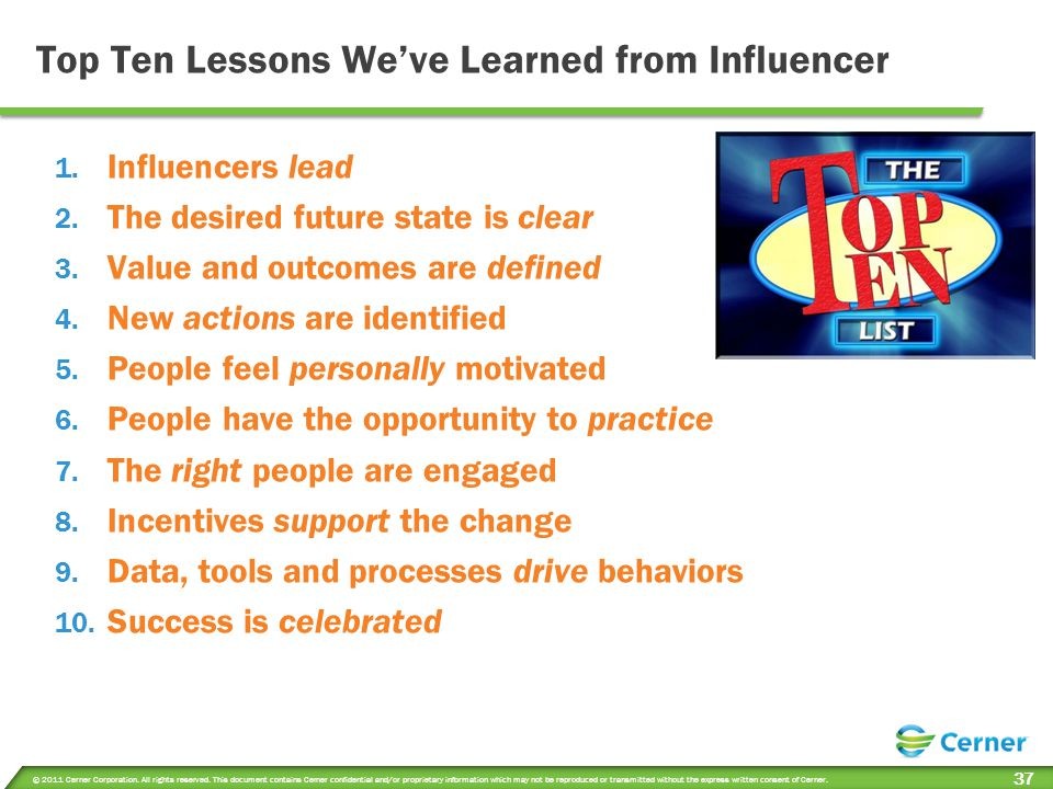 Top Ten Lessons We've Learned from Influencer