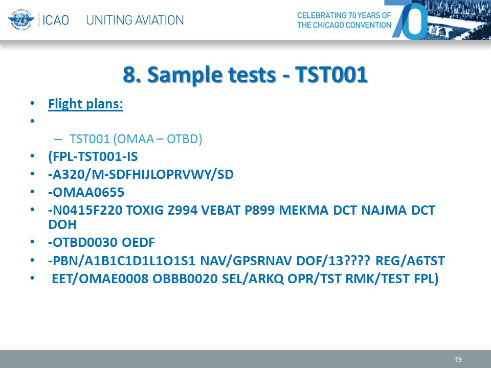 8. Sample tests - TST001 Flight plans: (FPL-TST001-IS