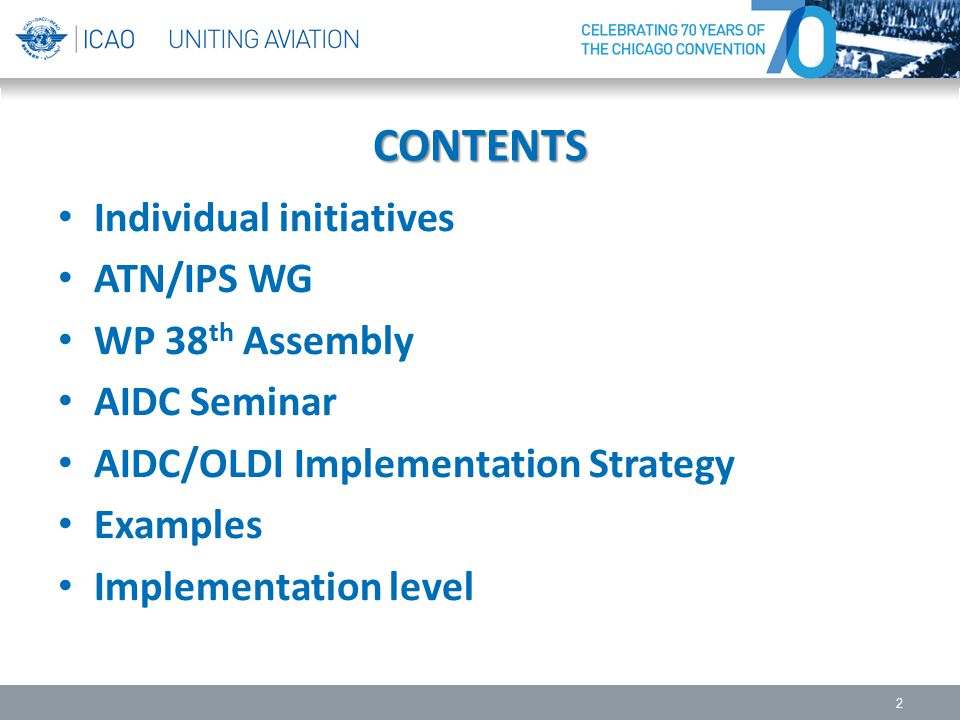CONTENTS Individual initiatives ATN/IPS WG WP 38th Assembly