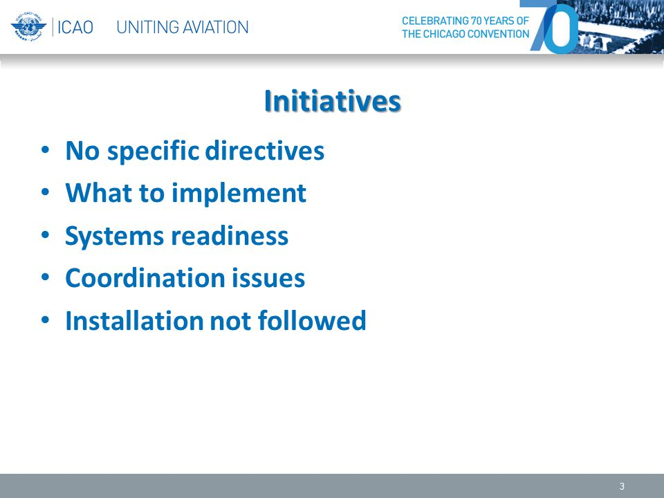 Initiatives No specific directives What to implement Systems readiness