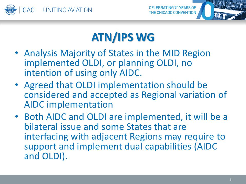 ATN/IPS WG Analysis Majority of States in the MID Region implemented OLDI, or planning OLDI, no intention of using only AIDC.