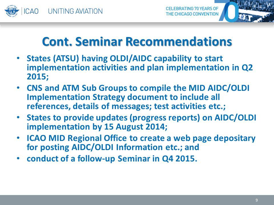 Cont. Seminar Recommendations