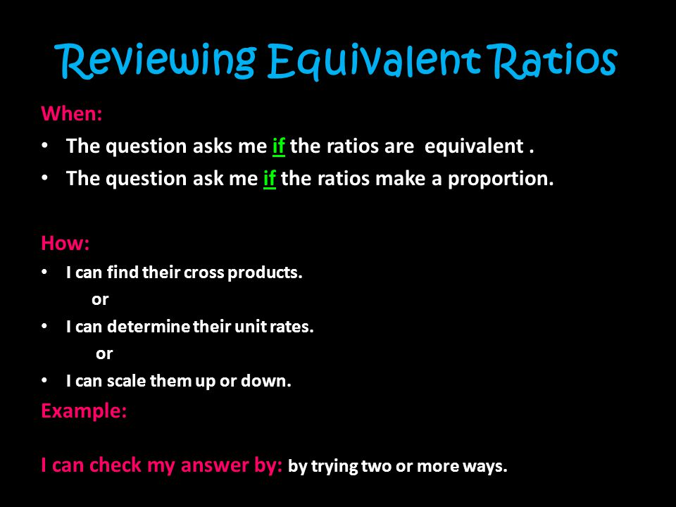 Reviewing Equivalent Ratios