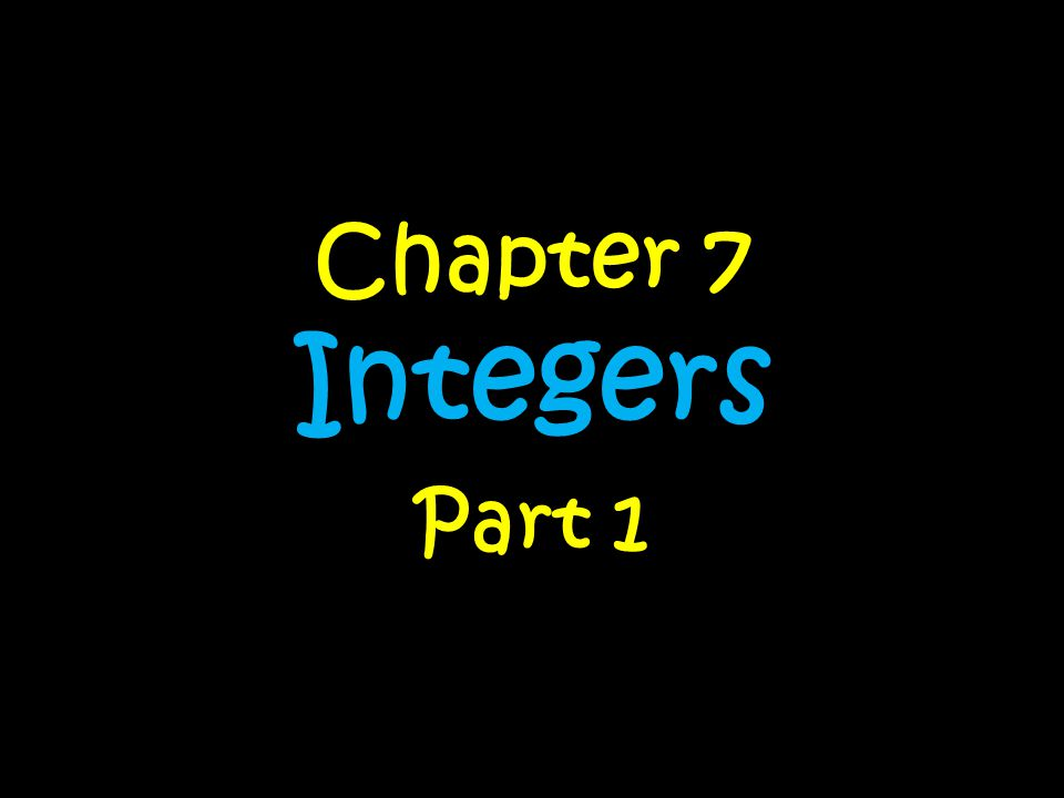 Chapter 7 Integers Part 1
