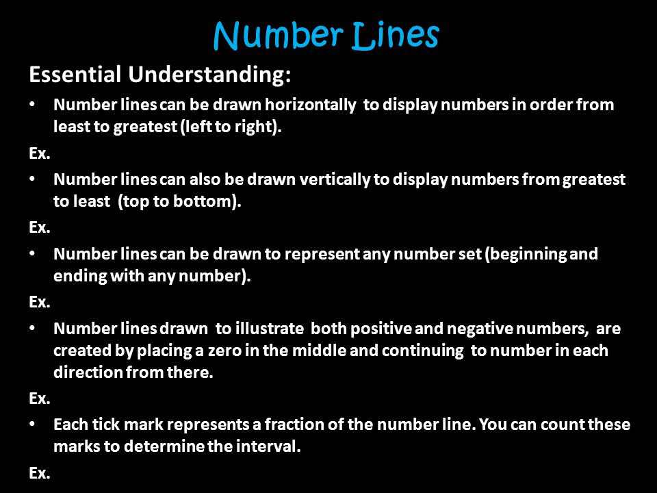 Number Lines Essential Understanding: