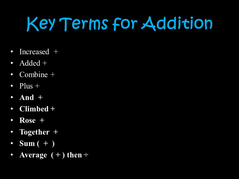 Key Terms for Addition Increased + Added + Combine + Plus + And +