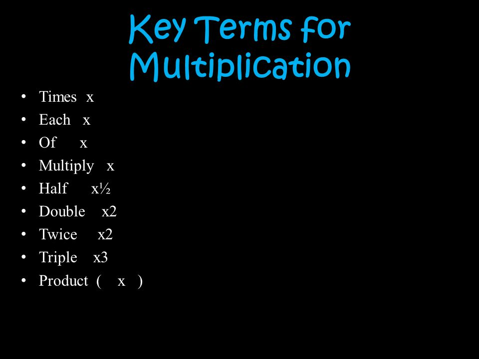 Key Terms for Multiplication
