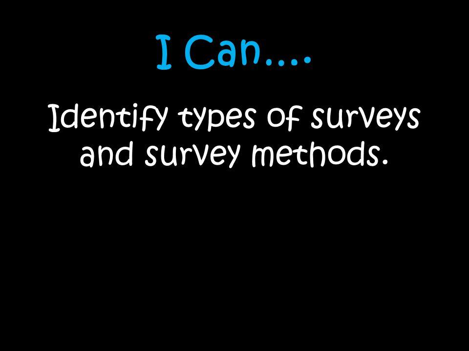 Identify types of surveys and survey methods.