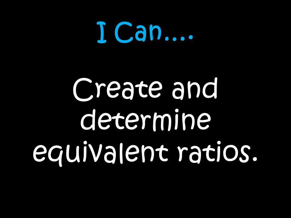 Create and determine equivalent ratios.