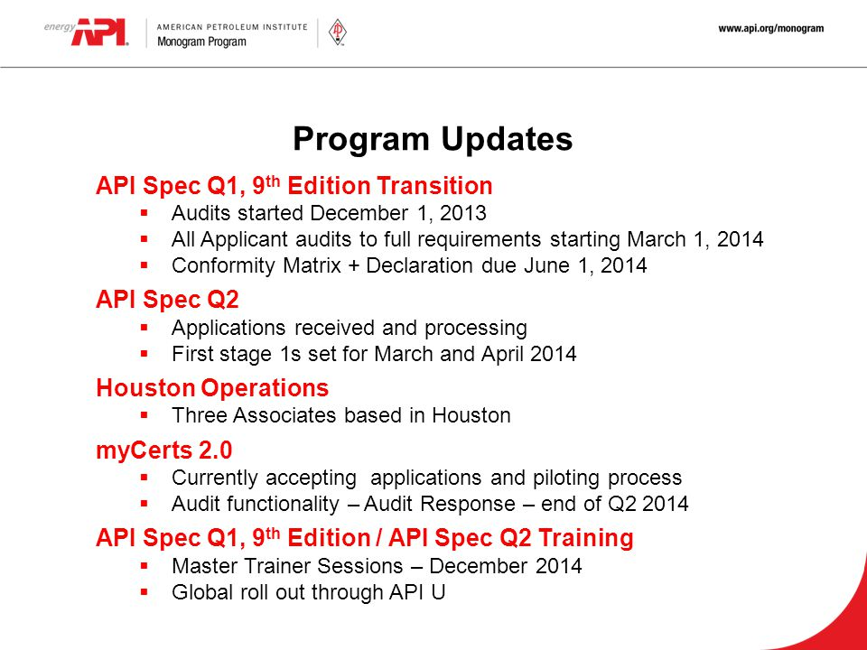 Program Updates API Spec Q1, 9th Edition Transition API Spec Q2
