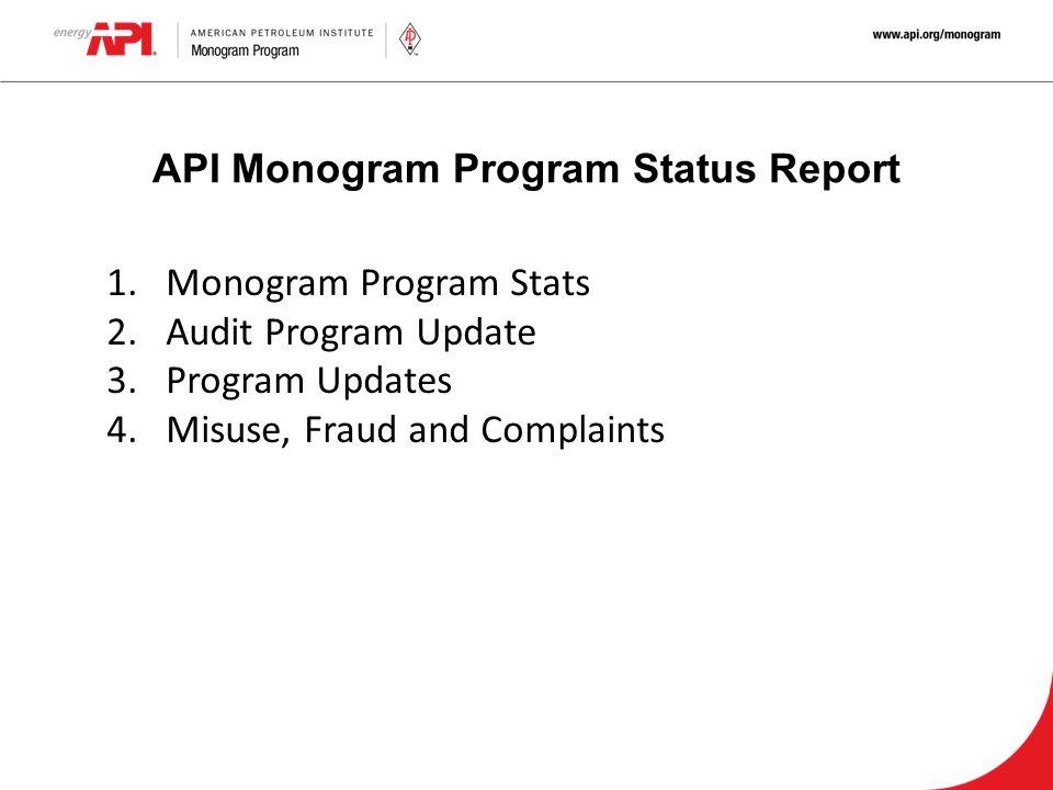 API Monogram Program Status Report