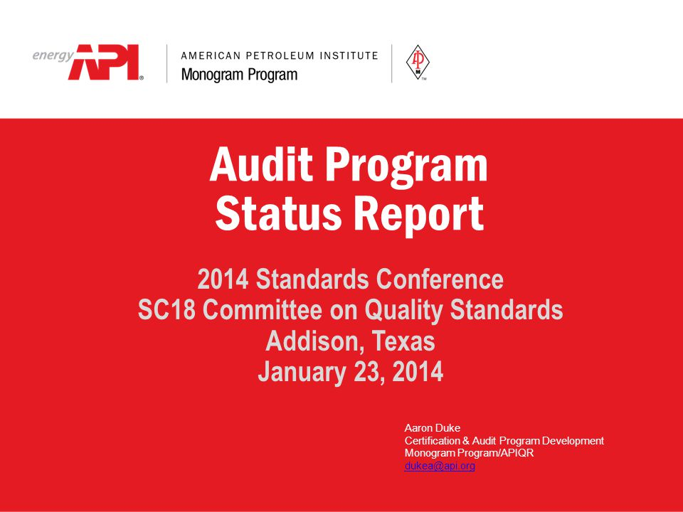 Audit Program Status Report