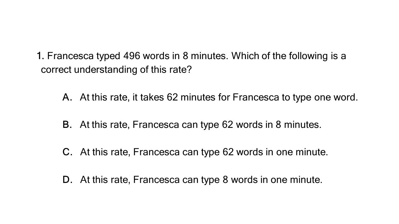 A. At this rate, it takes 62 minutes for Francesca to type one word.