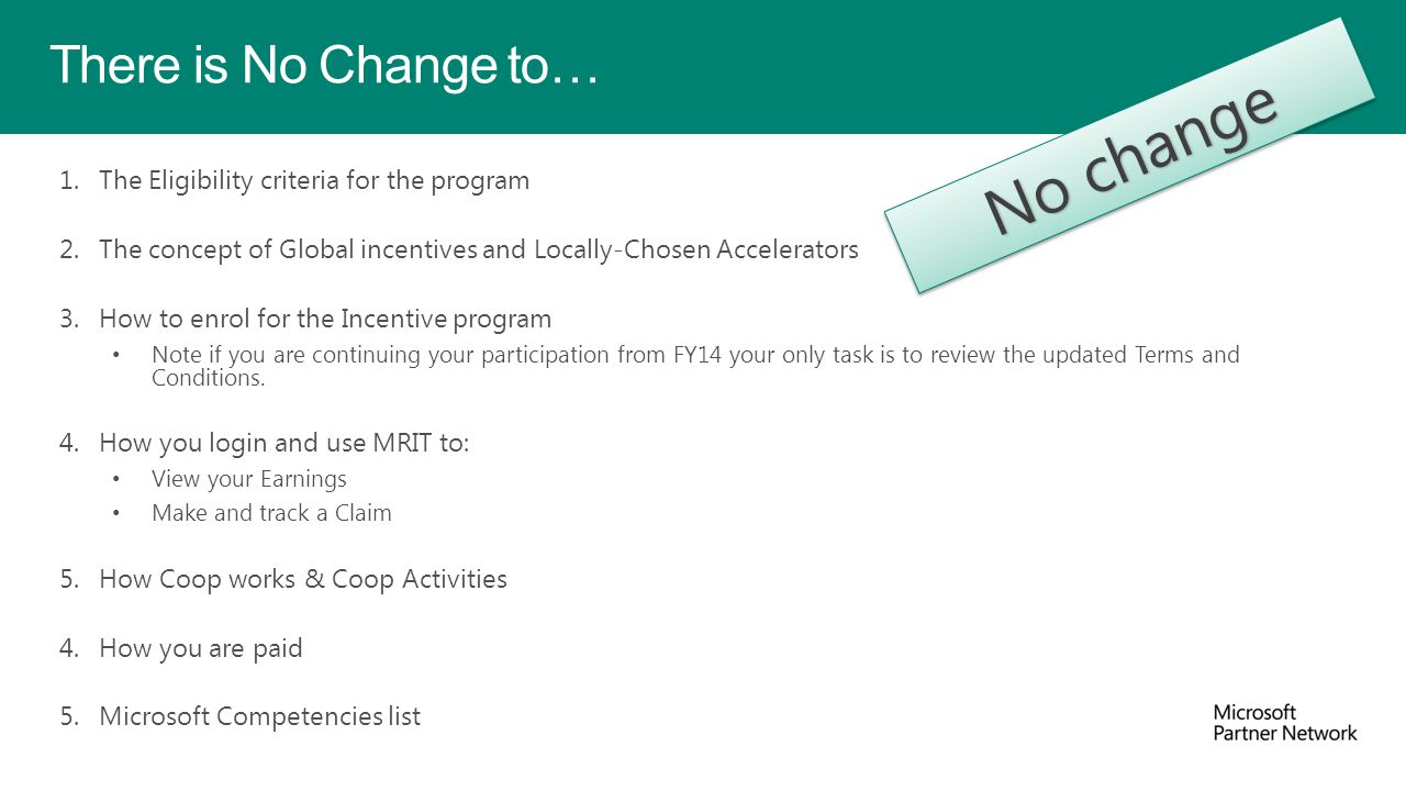 No change There is No Change to…
