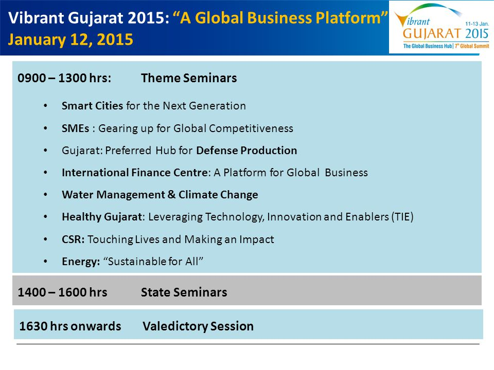 Vibrant Gujarat 2015: A Global Business Platform January 12, 2015