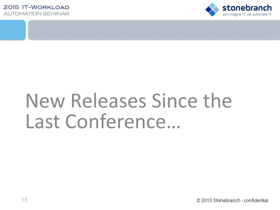 New Releases Since the Last Conference…