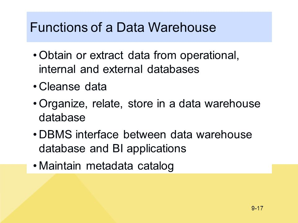 Functions of a Data Warehouse