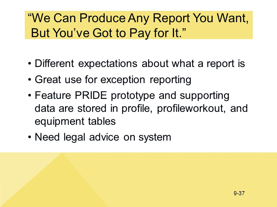 We Can Produce Any Report You Want, But You've Got to Pay for It.