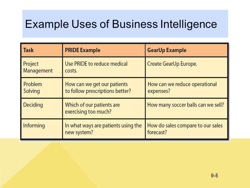 Example Uses of Business Intelligence