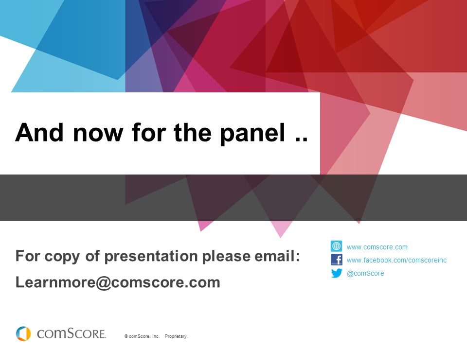 And now for the panel .. For copy of presentation please