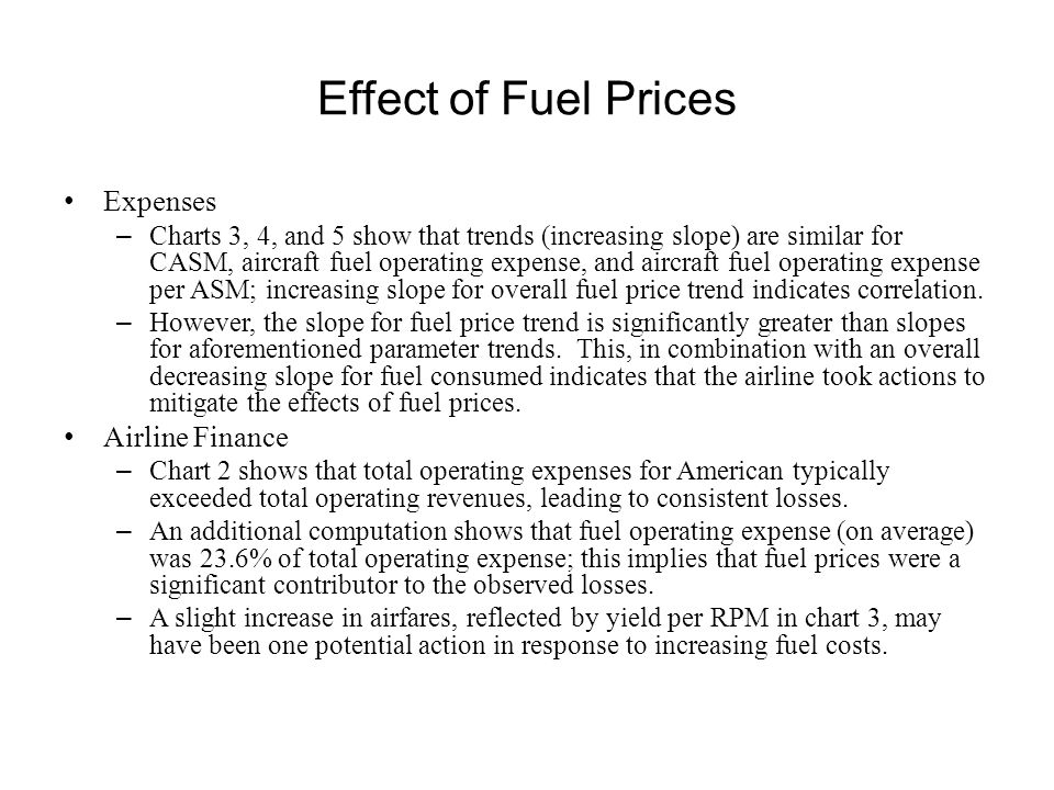 Effect of Fuel Prices Expenses Airline Finance