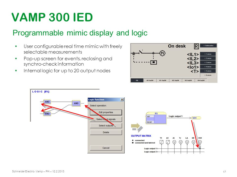 VAMP 300 IED Programmable mimic display and logic