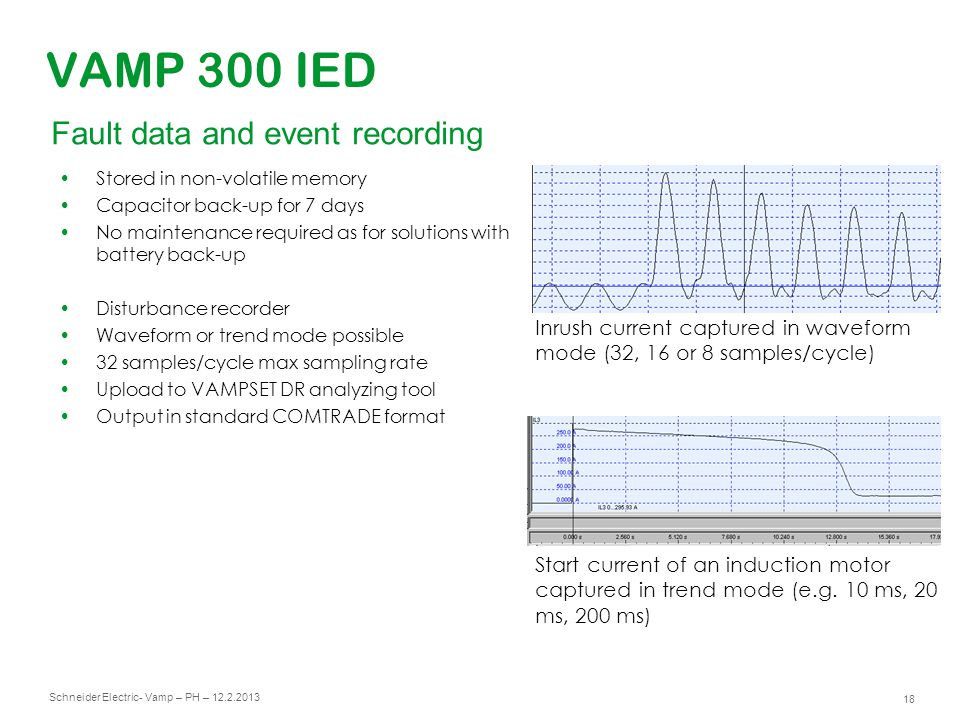 VAMP 300 IED Fault data and event recording