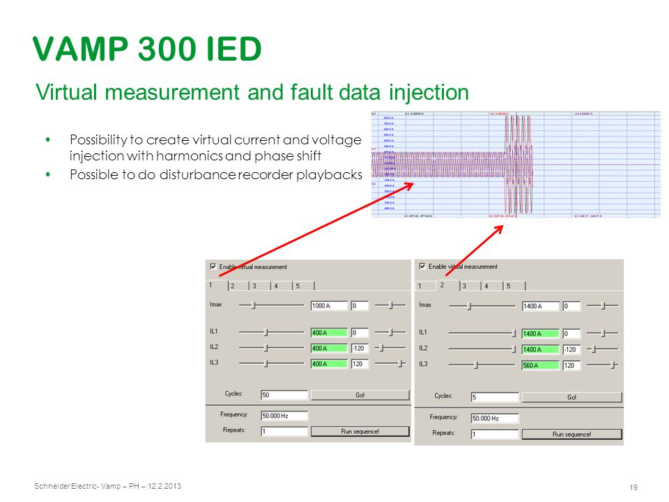 VAMP 300 IED Virtual measurement and fault data injection