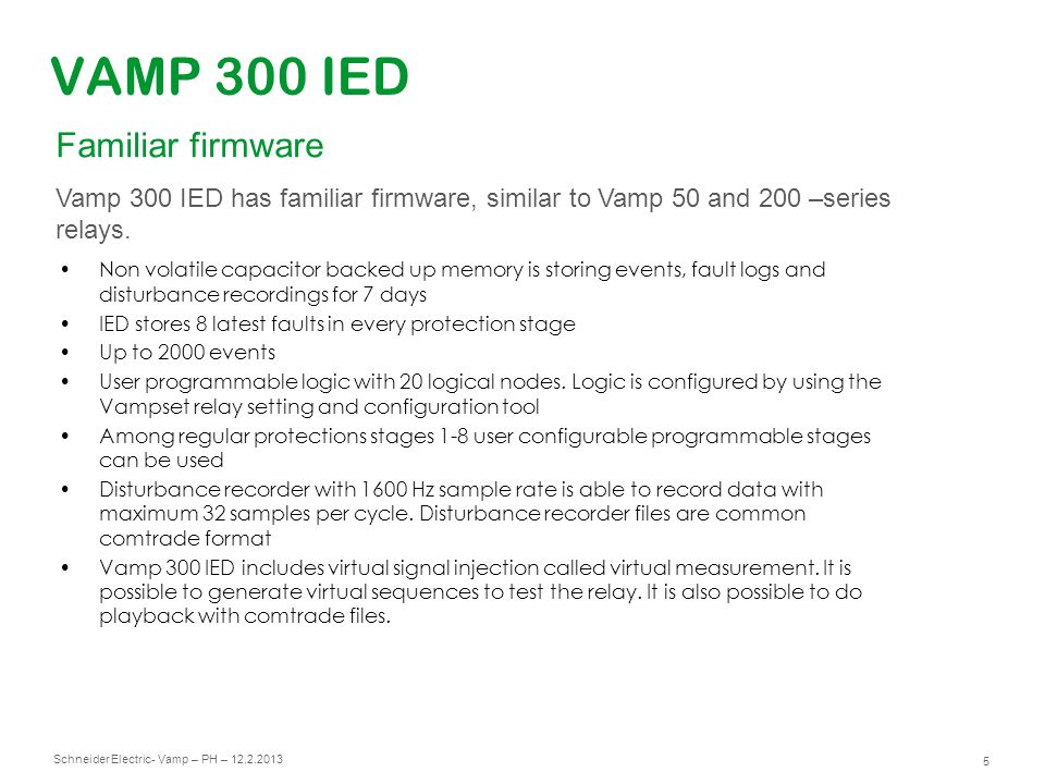 VAMP 300 IED Familiar firmware