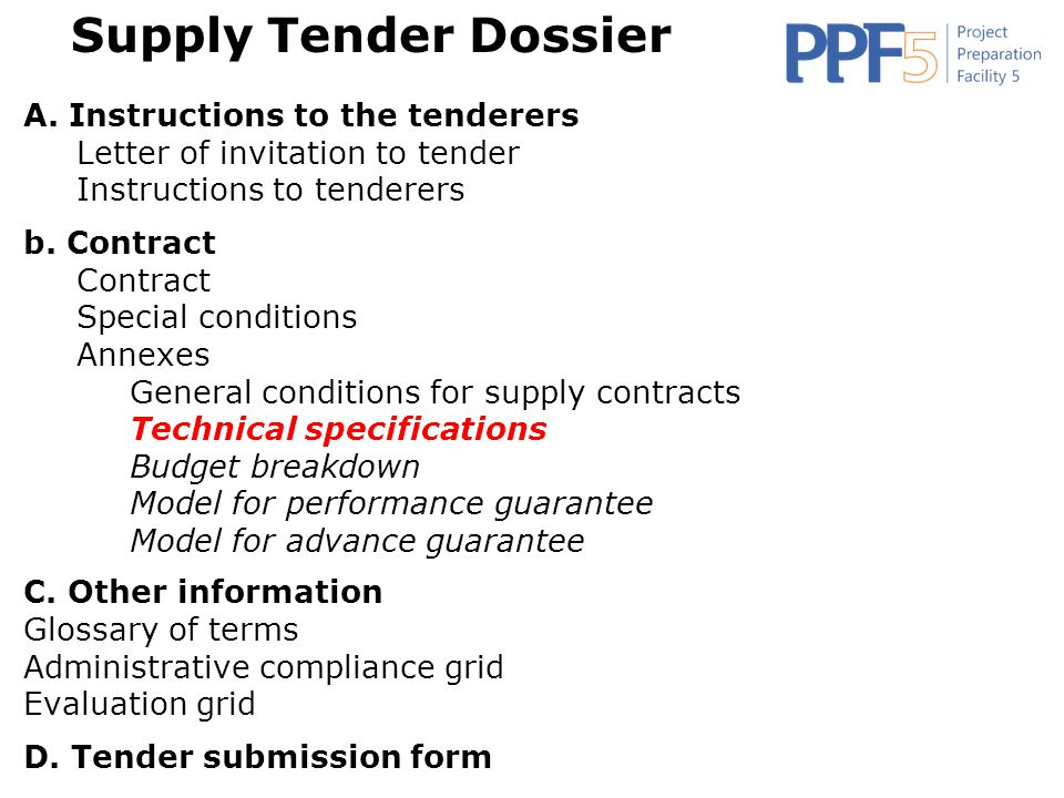 Supply Tender Dossier A. Instructions to the tenderers