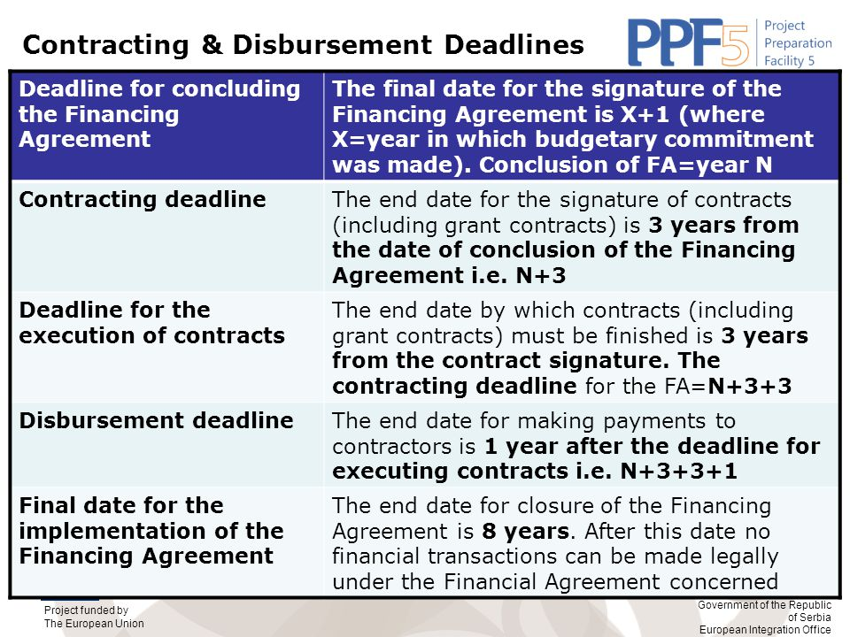 Contracting & Disbursement Deadlines