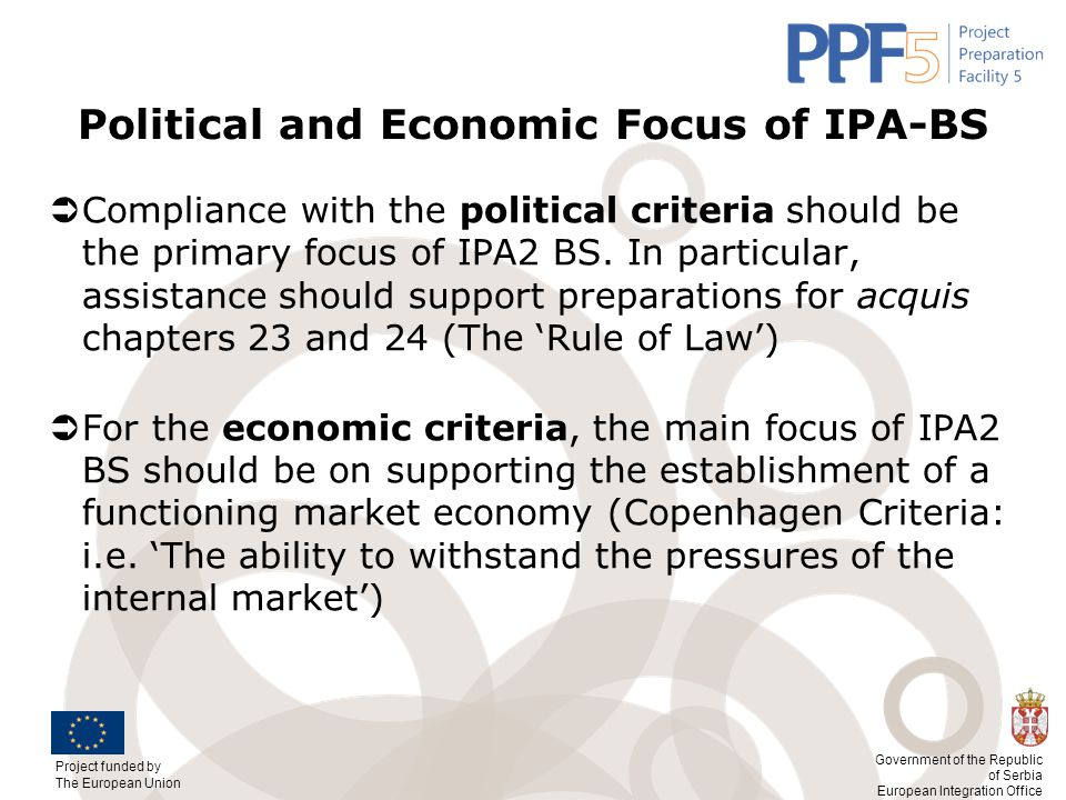 Political and Economic Focus of IPA-BS
