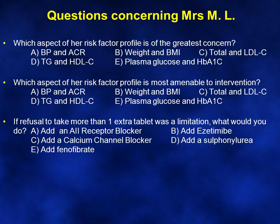 Questions concerning Mrs M. L.