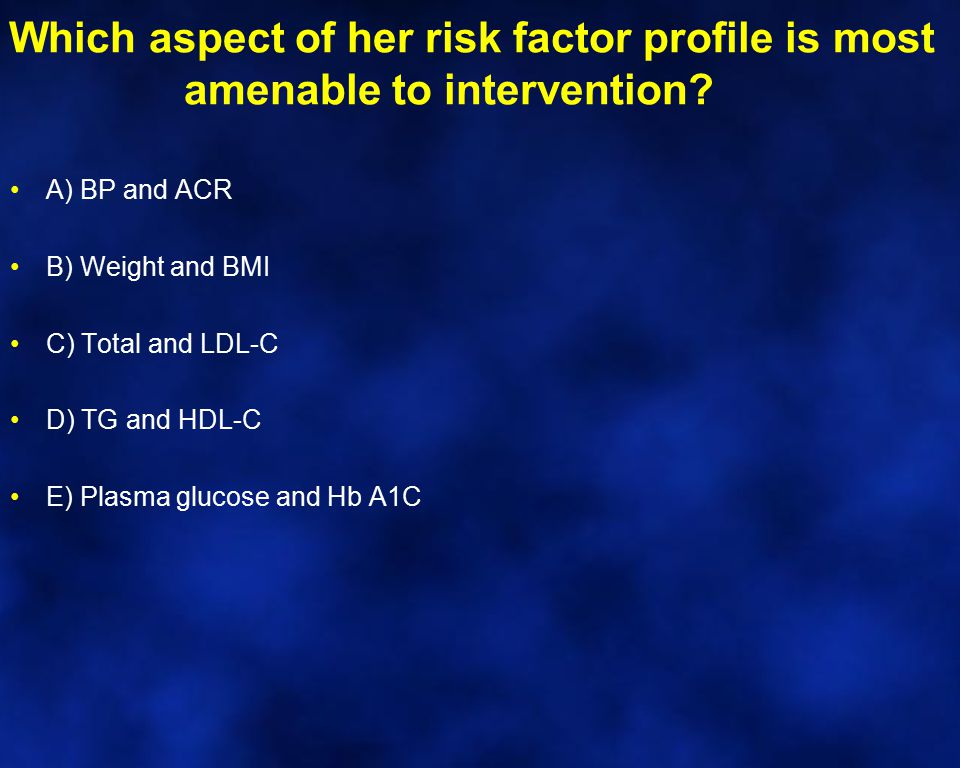 Which aspect of her risk factor profile is most amenable to intervention