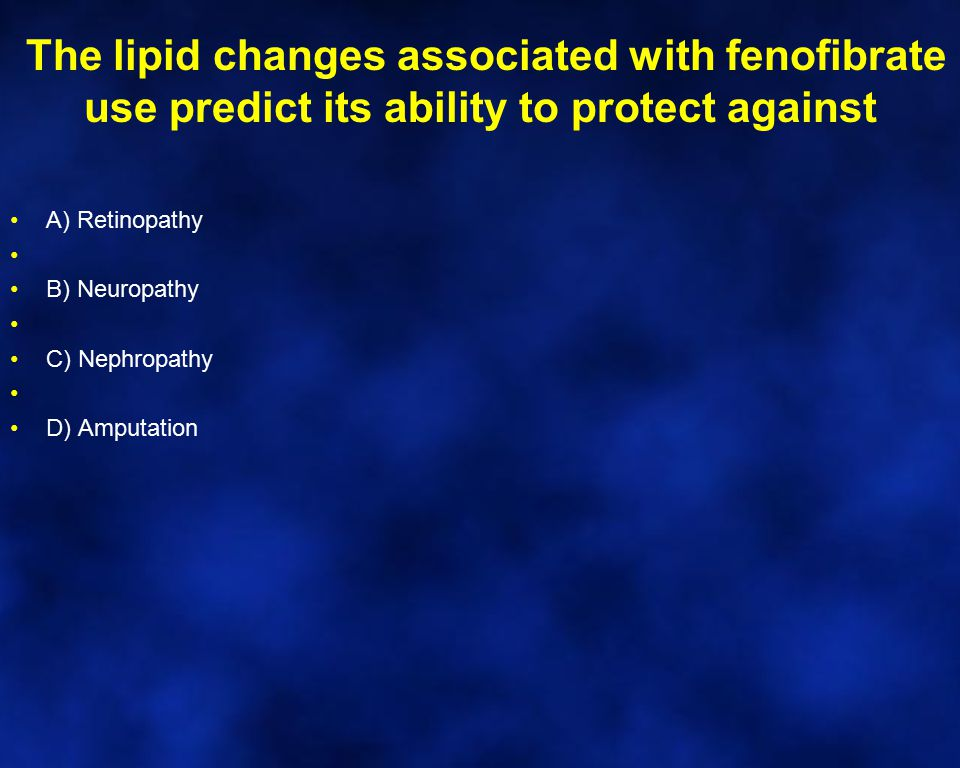 The lipid changes associated with fenofibrate use predict its ability to protect against