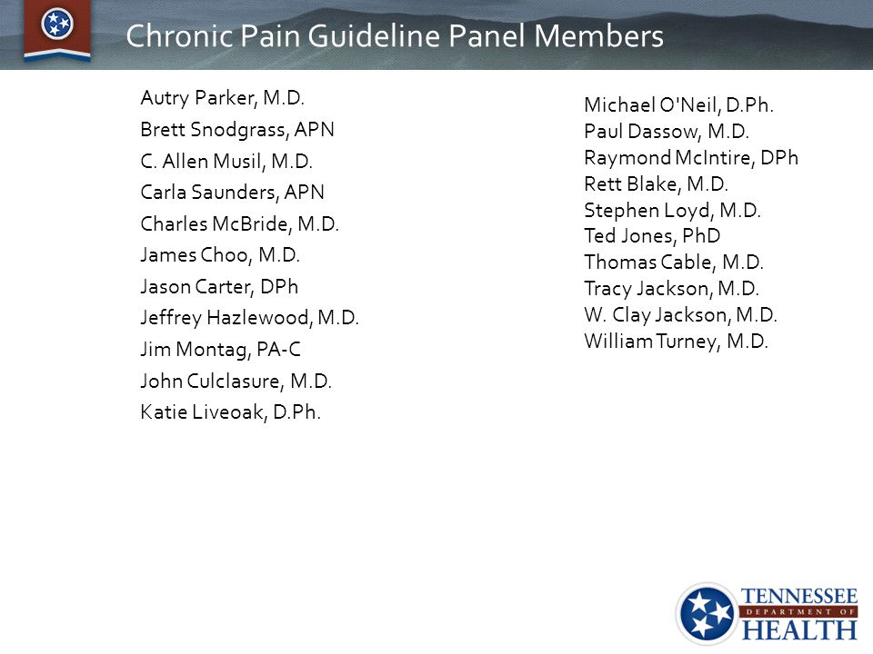 Chronic Pain Guideline Panel Members