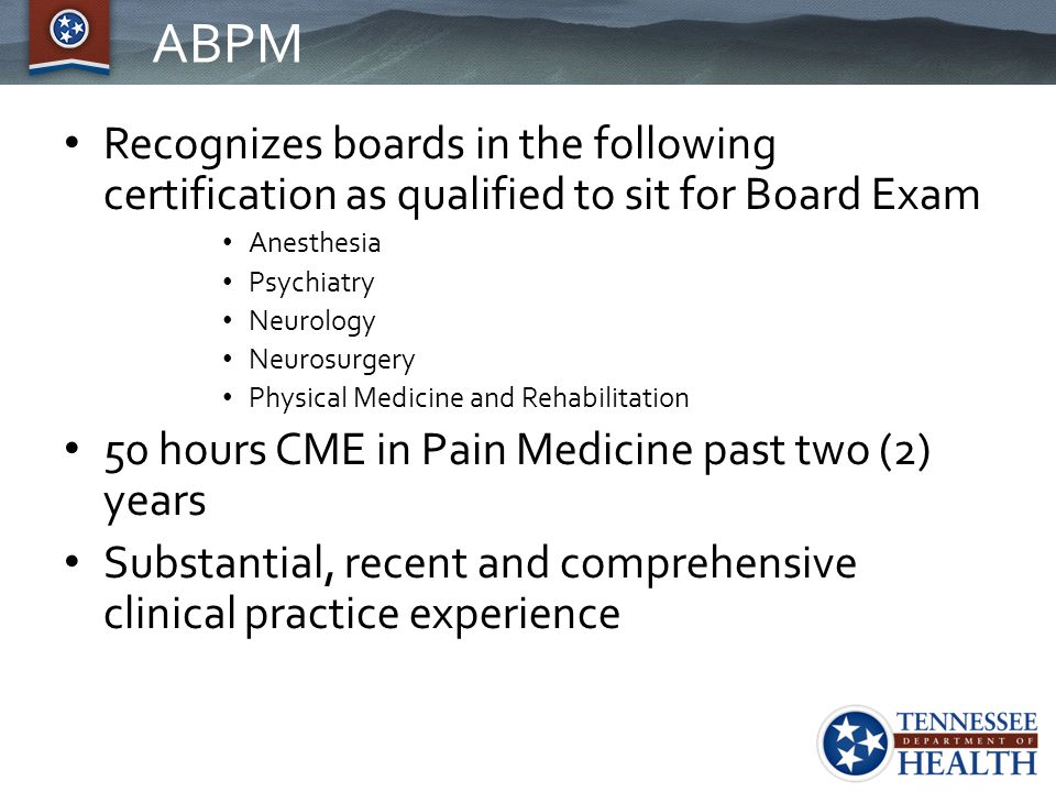 ABPM Recognizes boards in the following certification as qualified to sit for Board Exam. Anesthesia.