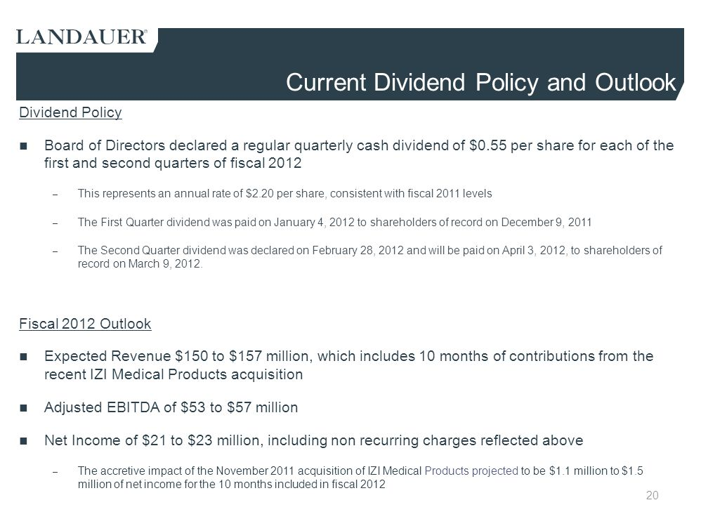 Current Dividend Policy and Outlook
